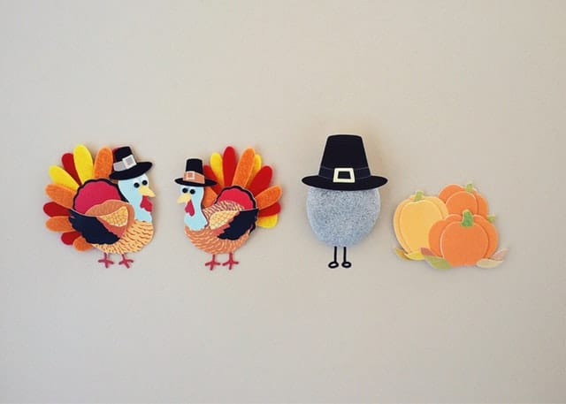 paper turkey and other thanksgiving decorations