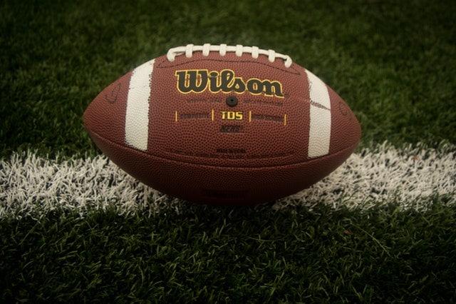 Football sitting on the field