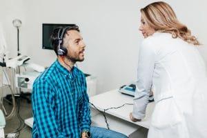 Man gets a hearing test